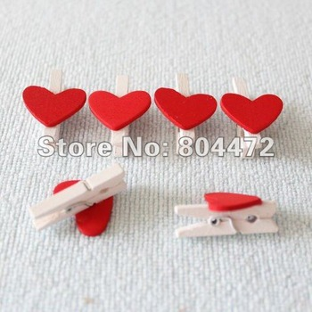Free Shipping/Red Heart Mini Wooden Clip/message folders/folder /Paper Clip/ White Gift Peg, DIY Tool 3 cm-10000 pcs/lot 0660