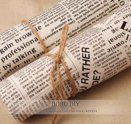 Japan Retro Linen Fabric - Newspaper News Print -vintage Zakka Black / BrownText 148CM Width free shipping B201330