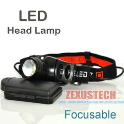 5W Hight Performance LED Head Lamp Zoomable Zoom Flashlight Bicycle Camping Hiking Mining HeadLamp Head Light FREE SHIPPING(China (Mainland))