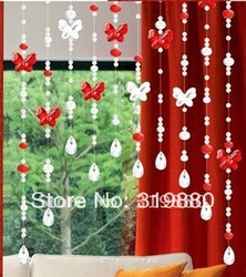 On sale!!! Wholesale Crystal bead curtain finished crystal butterfly partition black curtains curtain new specials(China (Mainland))
