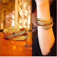 [Mix 15USD]Europe Punk Style Women Gold crystal stretch Snake Crystal Wrapping Bracelet & Bangle