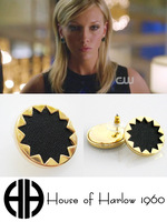 [Mix 15USD] European style Black Leather Sun Gear Gold Round Fashion Earring earrings