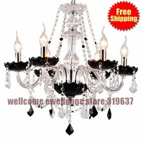 Free Shipping Wilte And Black Crystal Chandelier with 8 Lights