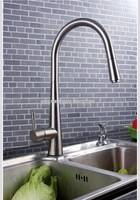 single handle pull-down spray kitchen sink faucet mixer tap in brushed nickel