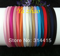 7MM Soft Satin Covered Plastic headbands, Baby Headbands 17colors in stock,  60pcs/lot Free shipping