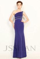 11P014 One-Shoulder Beaded Ruched Slim-Line Chiffon Junoesque Elegant Gorgeous Unique Brilliant Evening Dress Ball Gown Dresses