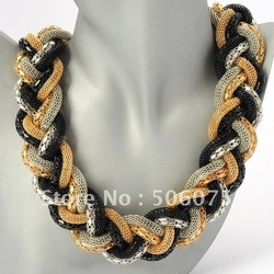 Fashion Jewelry Golden Black Silver Chain Braid Adorned Pendant Necklace(China (Mainland))