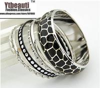 [Mix 15USD] Fashion Beauty trend mix match Vintage Shinny Decorative pattern  Silver Plated Metal multilayer  Bangles bracelet