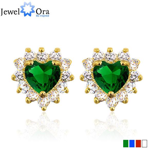 Fashion Heart Jewelry Green Sapphire Gold Stud Earrings Fashion Jewelry Crystal Earrings (Jewelora Ea010513000007)(China (Mainland))