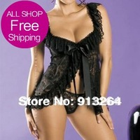 Sexy Lingerie Nightwear/underwear Ladies sleepwear Baby doll+G string fashion  Sexy Strapless Bustier Mini Dress Underwearpping