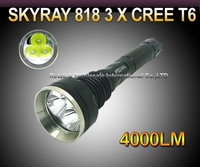 SKY-RAY 818 5-Mode 4000 Lumens 3 * CREE XM-L XML T6 LED Flashlight 18650 Battery Extendable High Power Torch