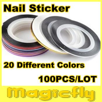 [JYXL-004]Wholesale 20 Color Available,100pcs Nail Art Tips Striping Tape Decoration + Free Shipping