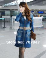 Free shipping 2014 autumn denim trench coat women outerwear slim plus size OL career dress vintage denim dress with rhinestones