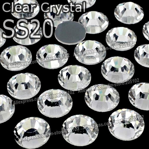 Promotion! SS20 1440pcs/Bag Clear Crystal DMC HotFix FlatBack glass Rhinestones strass,trim heat transfer Hot Fix crystal stones(China (Mainland))