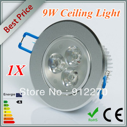 Retail 9W High Power LED Recessed Dimmable 3x3W Ceiling Down Bulb Spot Warm/ Cool White Light Lamp 85-265V(China (Mainland))