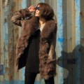 European Style 2012 New Fur Coat Fox Fur Collar Sheep Skin Leather Jacket Leather Down Coat Female Brown Free Shipping via EMS