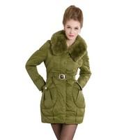New Fashion Women's medium-long  wool collar slim down coat