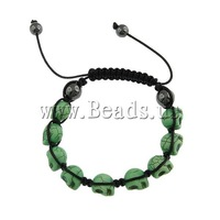 Free Shipping Turquoise Shamballa Bracelet, wax cord with skull turquoise beads & hematite beads, green, 9x12x11mm