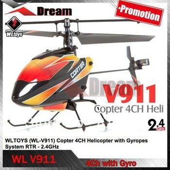 Frete grátis WL V911 4CH 2.4GHz Mini Radio Único Propeller RC Helicopter com giroscópio Solo Pro
