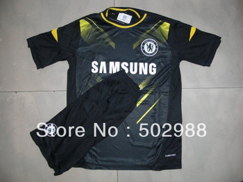 best quality 2012-2013 Chelsea away black football jersey & shorts suit,uniforms soccer kit,sports training equipment