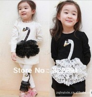 Wholesale, Children Swan design sets, 2-pieces( long sleeve shirts+ leggings), kids girls fashion suit TZ67