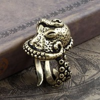 Octopus Ring Men Gothic & Punk Jewellery Retro Finger Ring Vintage Bronze Fashion Jewelry Dark Dream Free Shipping