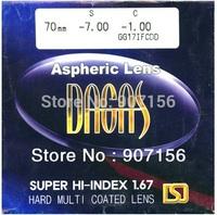 Filling a prescription 1.67 aspheric HMC UV CR-39 resin eyeglasses prescription lenses for myopia/hyperopia/presbyopia
