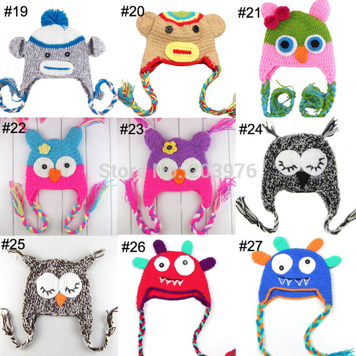 retail 1pcs Free shipping -23Colors - Handmade Knitting children Baby cap owl hat and monkey hat(China (Mainland))