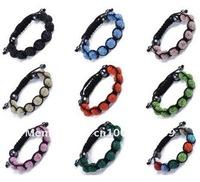 Wholesale - - 10PcsXHandwork Mix Colours Macrame Bracelets with Disco Ball(9Pcs) Crystal SHBmix2 Free