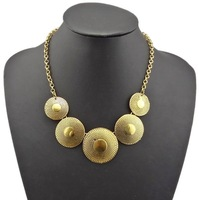 New Items  Vintage Gold Carved Metal Round Charms Statement Bib Necklace Choker Necklaces foir Women 2013 Bib Necklaces