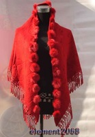 Fashion Red Triangle Chinese Women's Cashmere Rabbit Fur Shawl Scarf Scarves Flowers SA-3