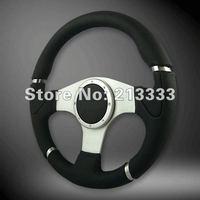"""13.5"""" NEW Millenium Leather Car Sport Steering Wheel 340mm Alloy Spoke 13056MOMO sliver racing steering wheel"""