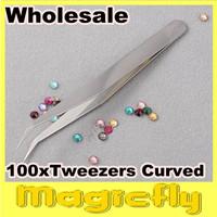 [PFL-048]Wholesale 100xNail Art Tweezers Curved & Straight Pointed Rhinestone Tweezers Makeup Beauty+Free Shipping