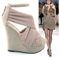 free shipping open toe sandals national trend platform wedges ultra high heels platform female shoes