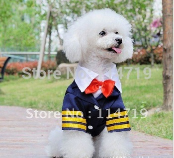 2012 New Hot Sale Fashion Pet Clothes Dog puppy Cotton Coat Navy suit Formal dress Cool S M L XL XXL FREE SHIPPING
