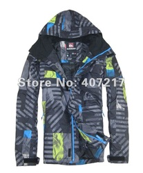 Free shipping 2013 mens snowboarding jacket lightweight skiing clothing for men's ski suit skiwear waterproof anorak black(China (Mainland))
