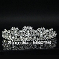 High Quality Clear Crystal Silver Plated Promotion Fashion Hair Accessories Wedding Crown Tiaras
