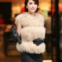 2012 new rabbit  lamb fur vest waistcoat coat jacket ladies&#39; garment 5colors free shipping