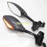 Folding LED Turn Signal Fiber Carbon Color  Motorcycle Rear View Side Mirror Fairing Blinker