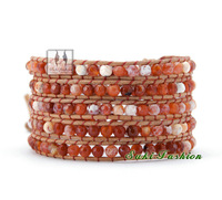 Hot Sell 5 Strands Faceted Agate Leather Wrap Bracelets Christmas Bracelets Christmas Gift Beaded Jewelry