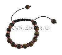 Tigereye Shamballa Bracelet, wax cord with tiger eye beads & rhinestone spacer, 16x17mm, Sold per 7 Inch- Strand