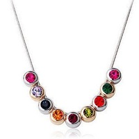 JJ101 Wholesale Luxurious Austria Crystal Silver Plated European Style Bride Rainbow Necklace Fashion Jewelry