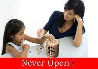Free shipping Never Open  Cash Can Savings Tin, coin saving piggy banks Money box kids toy gift