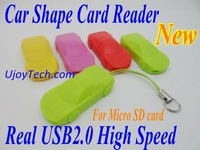 Wholesale Car Shape Micro SD Card Reader High Speed Real USB 2.0 Promotional Gift Mobile Phone Strap 50pcs/lot Free Shipping