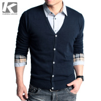 Hot Selling Men's Sweater Fashion Cardigan 100% Cotton Slim Solid Color Men's Sweater Free Shipping