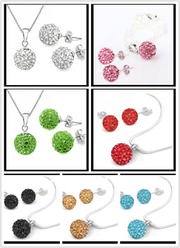 Fashion Shamballa Jewelry Gift Set, CZ Disco Ball 925 Silver Plated Shamballa Earring Stud&Necklace,30 Colors Available 100sets