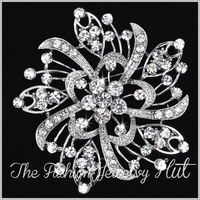 3'' New Crystal Brooch. Wholesale Rhinestone Vintage Flower Bouquet. Party Prom Pageant Wedding Bridal Jewelry. 5043