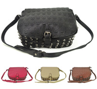 Free shipping 2013 handbags Shoulder Bags for women Retro Rivet design luxurious Skull Heads fashion   VK1335