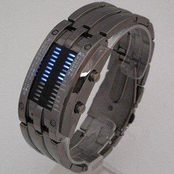 F03455 Fashion Design Staineless steel Binary Digital Watch Quartz Knight LED 30M waterproof  Men's Wristwatch Gift+Freeship