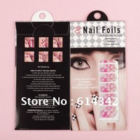 Free shipping-12 sheets/pack 47 styles trendy nail art stickers wraps polish foils cover decals glitter decorations